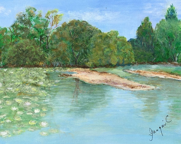 Jacqui Cousins - Landscape  with sky, trees and water - realistic