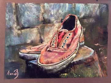 Well Worn by Anna Ballarin.jpeg Old redshoes without laces on tree stump