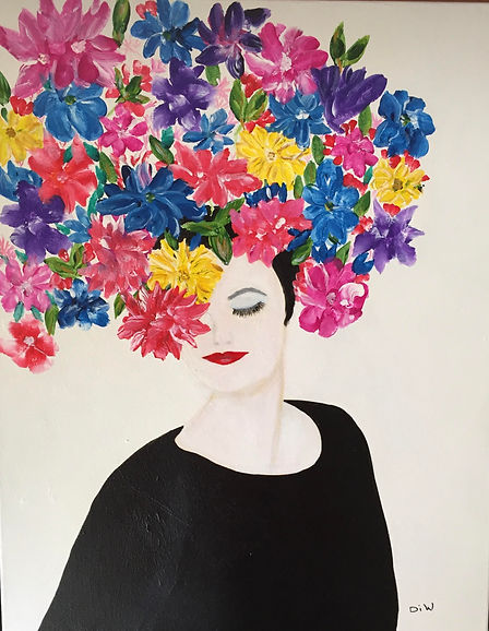 Di Woods Pretty Woman.jpg bust of a woman in black with a headdress of multi-coloured flowers