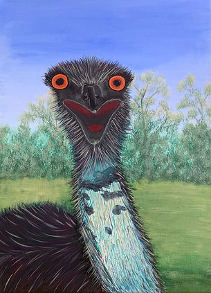 Anne Swalwell - Emu Selfie. Upper body of emu with mouth openagainst agreen background and blue sky