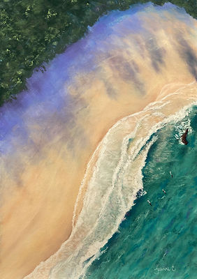 Sky-High-Afternoon-by-Jeanne-Cotter-2021. aerial view of a beach with water, sand and treesjpg