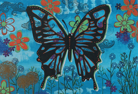 Kim Blackshaw   Monach butterfly in black on a blue background with green and orange foliage - reduction print