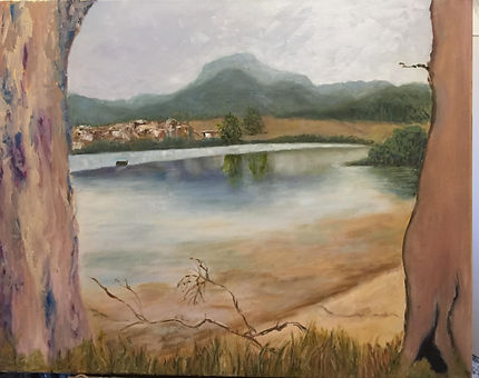 Jacqui Cousins - Tasmanian Landscape.jpg tree on either side ofwater with mountains in the background.