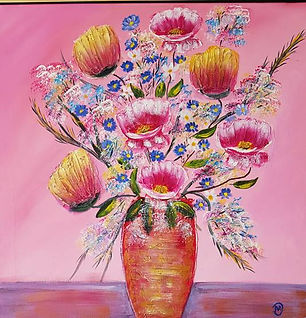Spring Flowers Mary Dan yellow and pinkk flowers in vase, pink background