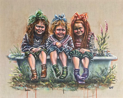 Robyn Carr, Triple Treat.jpeg three girls balances on the edge of an old bath in the outdoors.