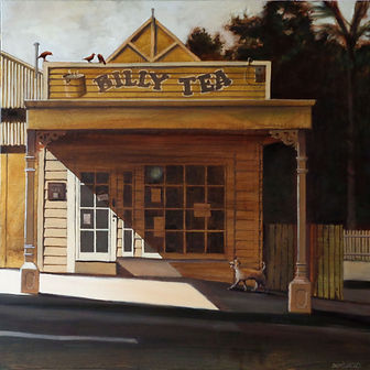 David Ladley- Billy Tea.  An old shop in shades of browns.