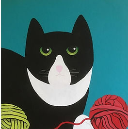 Chris Boulsover - Bunty Loves Wool.jpg Stylised  black and white cat with red and greed balls of wool