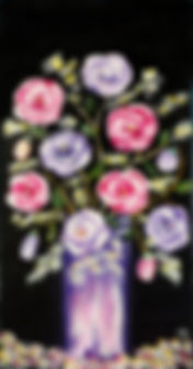 Dann Spring pink and ilac flowers in vase