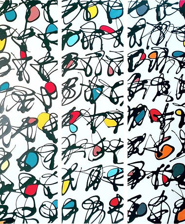 Harriet Posner Illuminations  calligraphic black marks with aqua, red,yello and orange in fill where lines cross