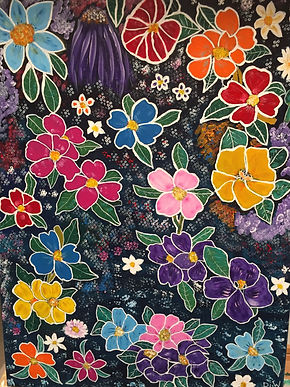 Floral Di Woods. Mulicoloured flowers against  adark background with dots of colour