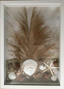 Tatjana Stupar Flora and Seashells.j Framed seashells and grasses in brownish tones