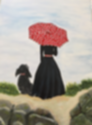 Di Woods Lady and dog in black with red and white spotted umbrella in beach scene 1.png