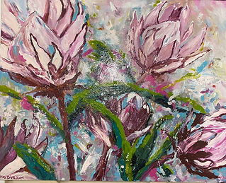 Sue Burton - Passionate Romance. pink flowers with greenery