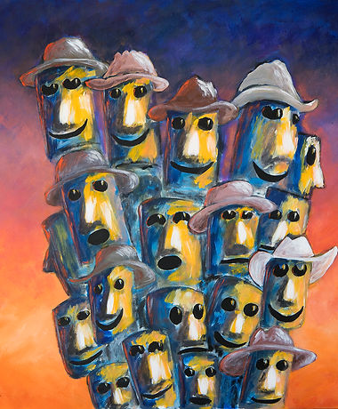 We-Know-Where-And-Who-We-Are-Bruce-Peebles a montage oge of miners'faces in yellows and blues against a sunset background
