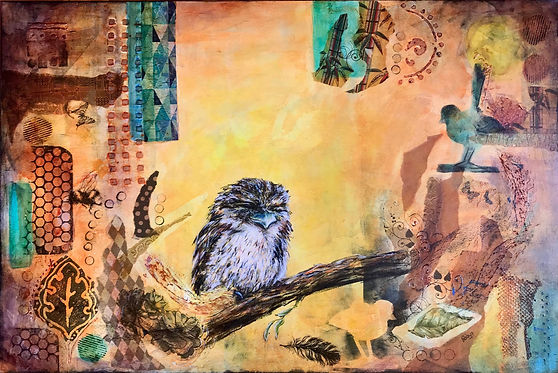 Robyn Carr - Tawny Frogmouth.jpeg on branch with abstracted background in tones of aqua, tan pink and yellow