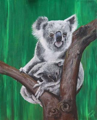 Rhonda Knight - True Blue.JPG koala and joey in tree fork. green background