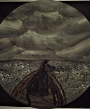 Melody Coombes 'Bow to the Storm'.jpg Stormy sky and greengey foreground