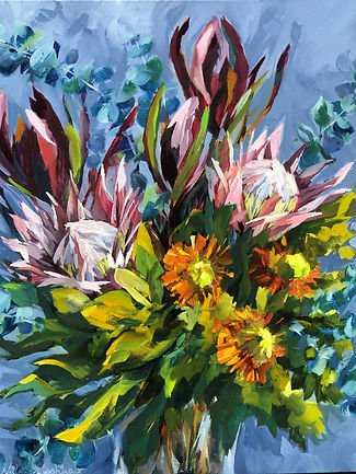 splendidposy-natasharuschka-oilpainting. brightly coloured Australian native flowers