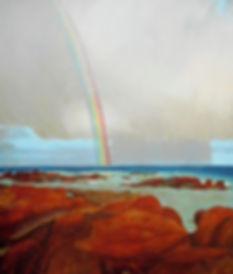 rocks, water, sky and rainbow