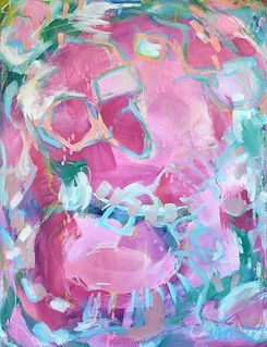 Nikki Wouters Carous pink and aqua abstract