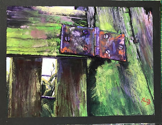 Fence in Perspective by Anna Ballarin.jpeg close up og an old fence and hinge in greens, purple and orange.