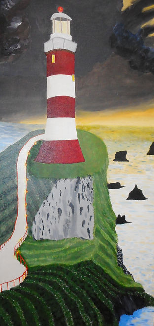 Malcolm Stirling Morning Light . fed and white lighthouse on precipitous cliff in grey and green