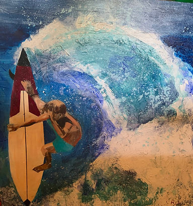 Di weingott - Riding High.jpeg topographical view of a surfer on a wave