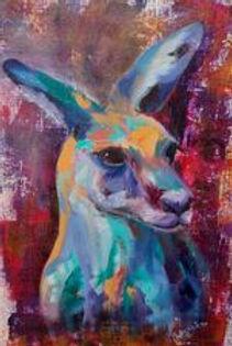 Sue Butler Roo. Colourful upper body of a kangaroo