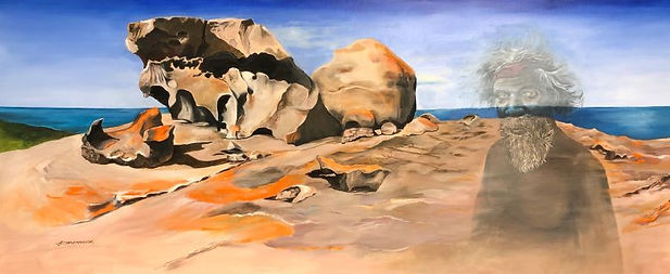 John Chadwick australian landscape with rocky outcrop and an aboriginal figure muted in colour