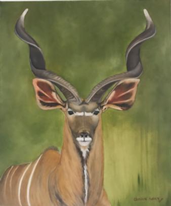Charlene Harvey Kudu of Kariba.  Deer with large curled hornd against a green background