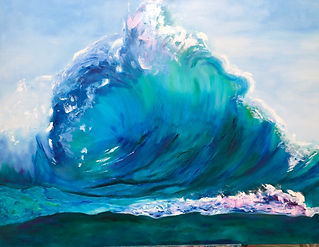 Lisa Bagnell - Curved Wave.jpg Green sea, blue and green wave, pale blue sky