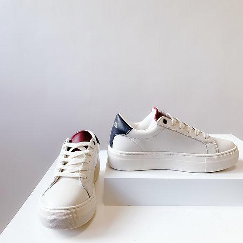 Korlà Sneaker - Off White W/NAVY + RED