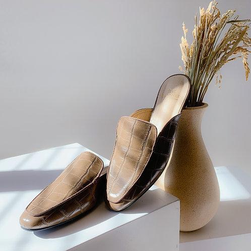 Kroco Leather Slippers Khaki