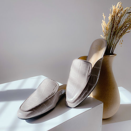 Kroco Leather Slippers Grey
