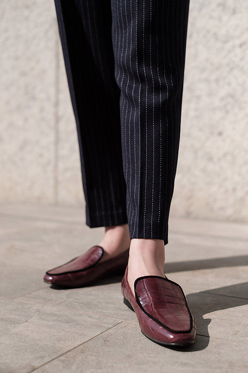 Kroco Leather Loafers Burgundy