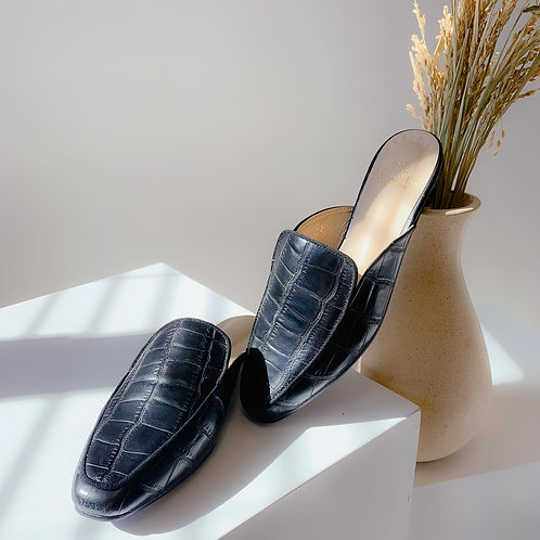 Kroco Leather Slippers Black