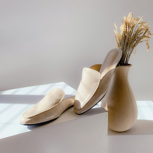 Kroco Leather Slippers Beige