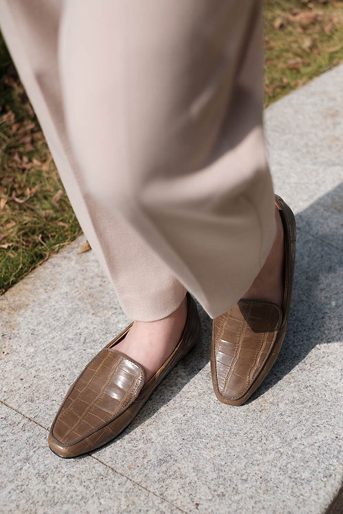 Kroco Leather Loafers Brown
