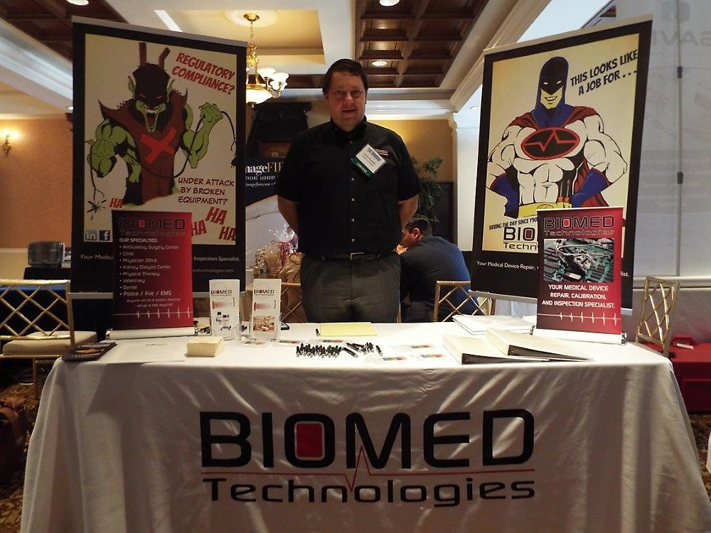 MOUNT ARLINGTON, NEW JERSEY, NOVEMBER 2, 2015 - The fall season for Biomed Technologies seems like a fast-paced sprint through conferences. First up was the Surgery Center Coalition (SCC) conference where the theme was ASC's Supporting ASC's. Taking the helm of our exhibit space was our very own superhero, Chris Poulsen, our Service Manager.