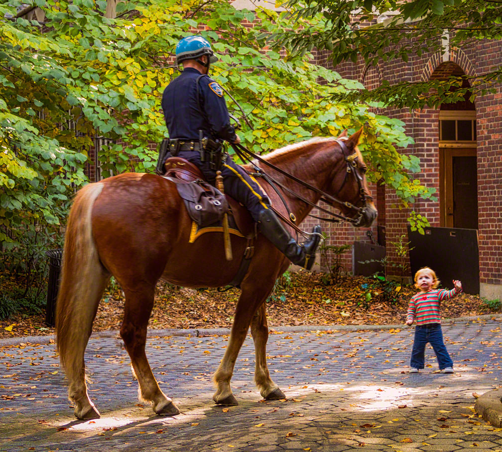 cop on horse and boy