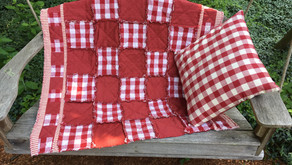 Red & white lap quilt