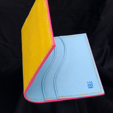 Custo m wallet with sky blue goatskin and yellow monitor lizard leather