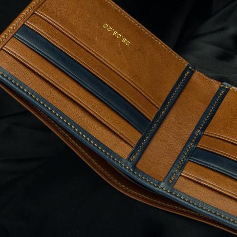 Custom wallet in two tone kangaroo leather