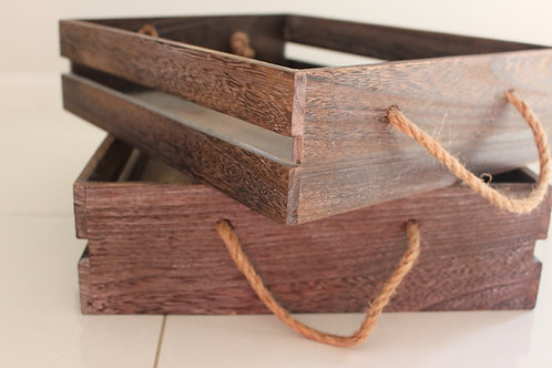 Set of 2 Wooden Trays