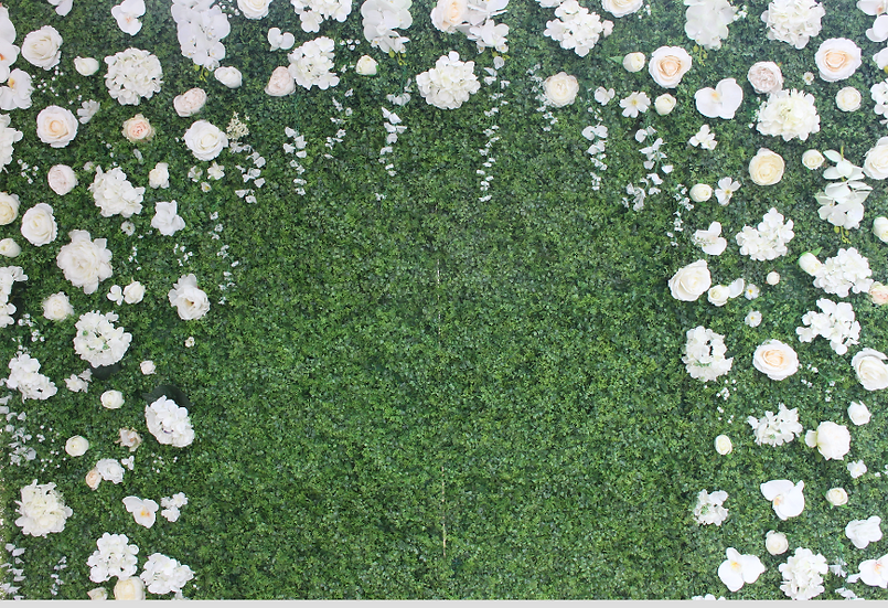 Green Wall with White Flowers