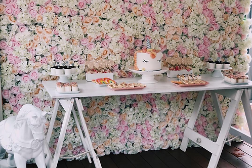 Pink & White Flower Wall