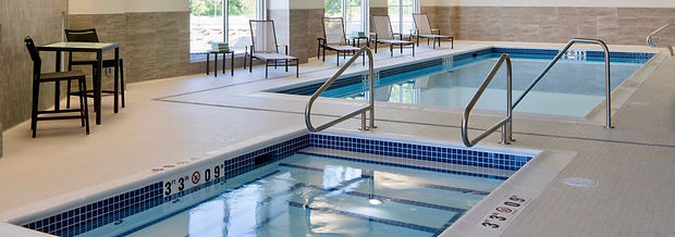 Prince George Coutyard Marriott Swimming Pool, Spa, Hot Tub, Blue Tile,  Federal Stone Coping Stones, Stainless Steel Handrails, White tiled Pools, Depth Markings, Poold Deck Patio Furniture