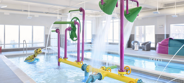 Gizmos & Gadgets Interactive water toy, Whitewater West Industries ltd. Swimming Pool, TownPlace Marriott, Medicine Hat, Coping Stones, Federal Stone, Turtle, Spout, Tipping buckets,