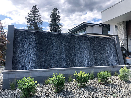 Waterfall.jpeg, Privacy Wall, Noise reducer, Black Stone Tile, Grey Tile, Grey Stucco, Whitewater, Landscaping, Landscape Design