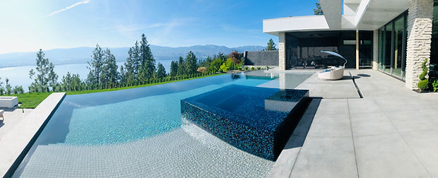 Negative Edge Swimming Pool.jpg Negative Edge Spa, Glass Tile Random, Pool Reflection, Waterfal,l Privacy Wall, Soda Etched Pool Deck for a modern look, Concrete Pool Deck, Contemporary Pool, Curved Pool,  Grey Pool Tile,